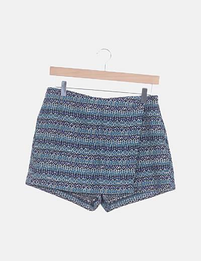 Falda pantalón azul estampado combinado