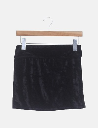 Mini falda velvet negra