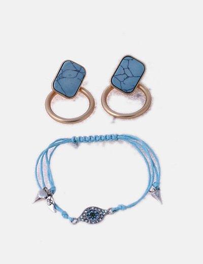 Conjunto de pendientes y pulsera turquesa