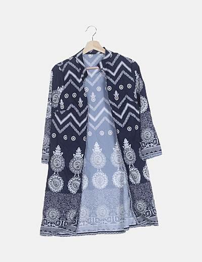 Kimono azul marino estampado