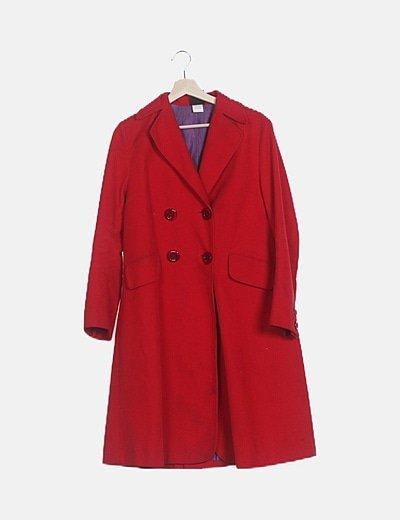 Abrigo largo rojo de pana
