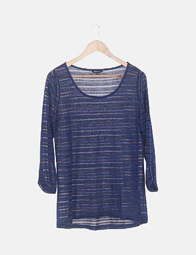 Camiseta azul franjas glitter