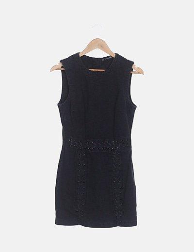 Vestido denim negro lace