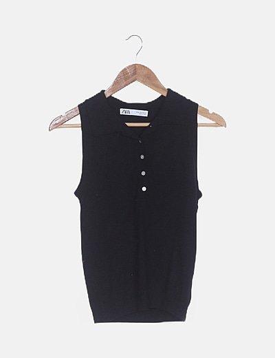 Polo tricot negro