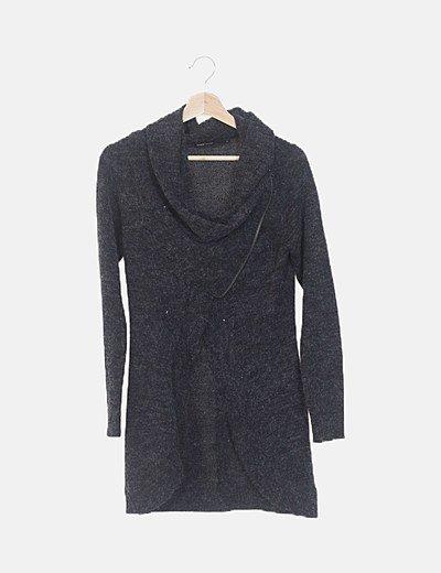 Chaqueta lana gris cremallera lateral