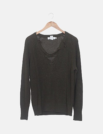 Jersey tricot verde lace up