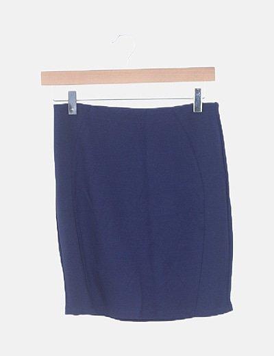 Mini falda tubo azul combinada