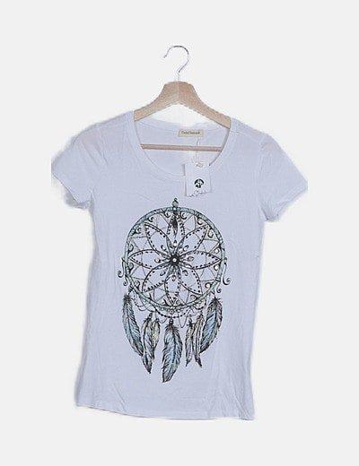Camiseta blanca estampada pedrería