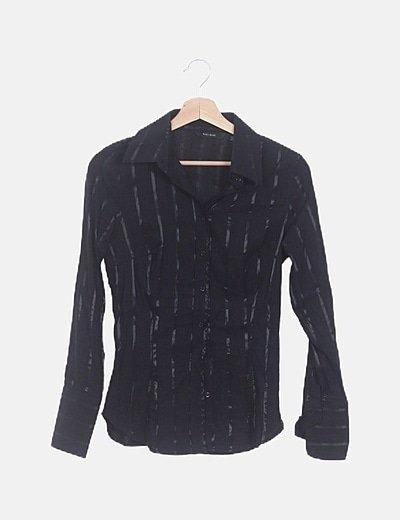Camisa negra rayas satinadas