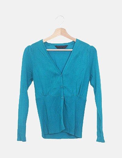 Jersey tricot turquesa botones