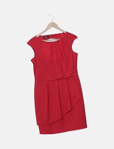Vestido rojo escote espalda asimétrico