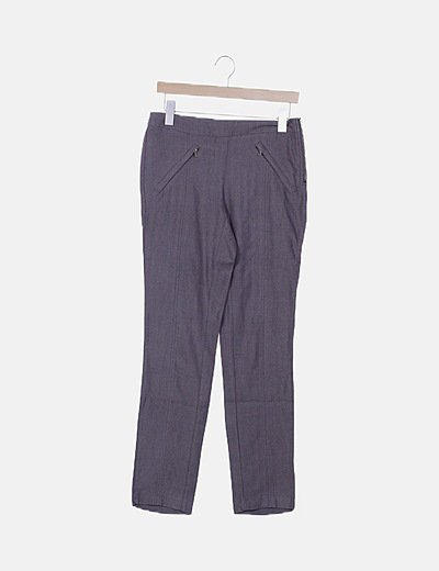 Pantalón marrón print espiga
