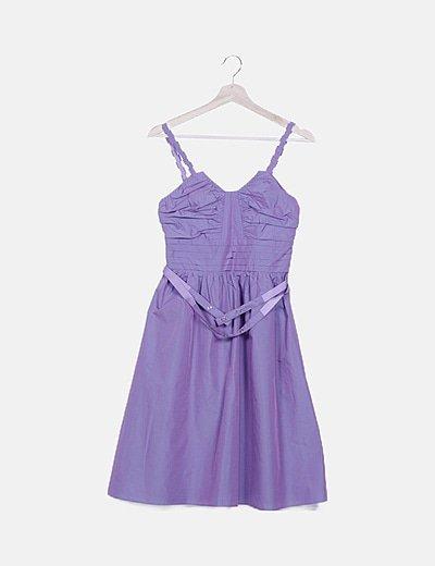 Vestido lila satinado