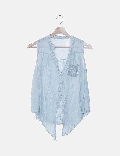Camisa nudo agua marina lentejuelas