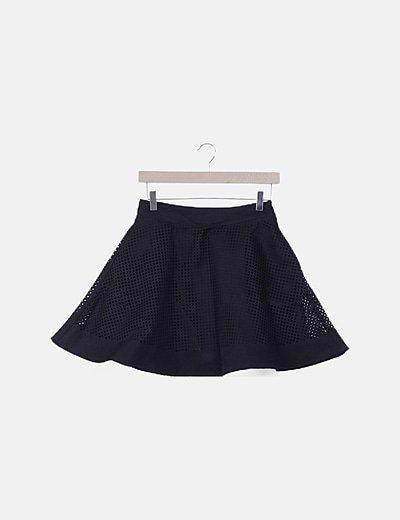 Falda mini negra rejilla