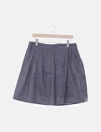 Falda gris raya glitter