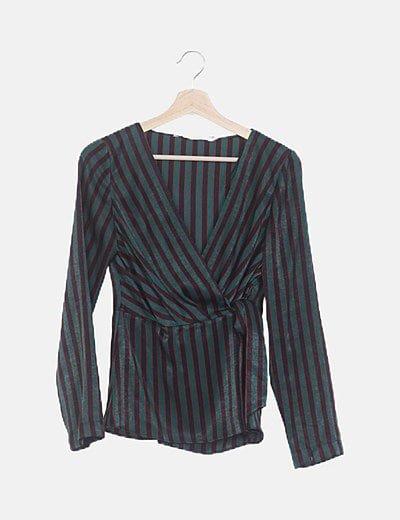 Blusa satén rayas verdes