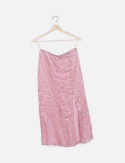 Falda rosa de motas con abertura