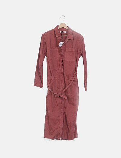 Vestido denim maxi rosa crepe