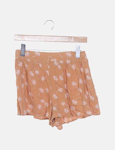 Conjunto crop top y shorts nude estampado
