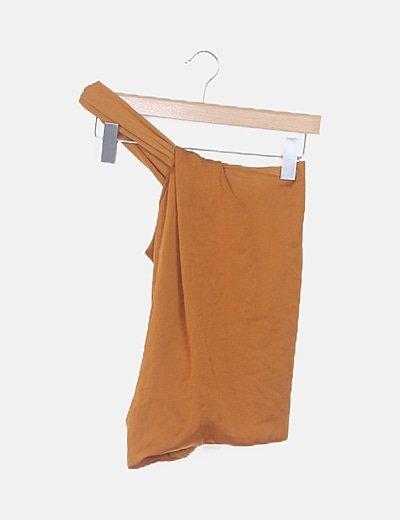 Blusa satén drapeada naranja