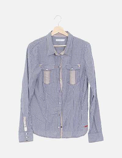 Camisa azul de cuadros vichy