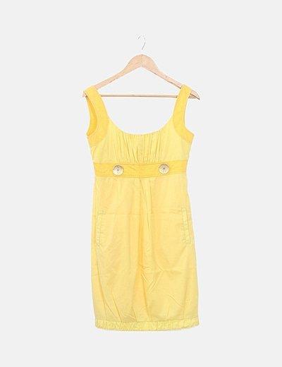 Vestido amarillo detalle botones