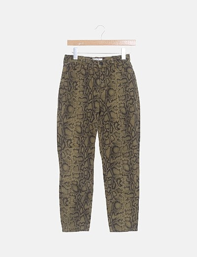 Jeans denim mon fit animal print verde