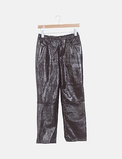 Pantalón charol marrón oscuro