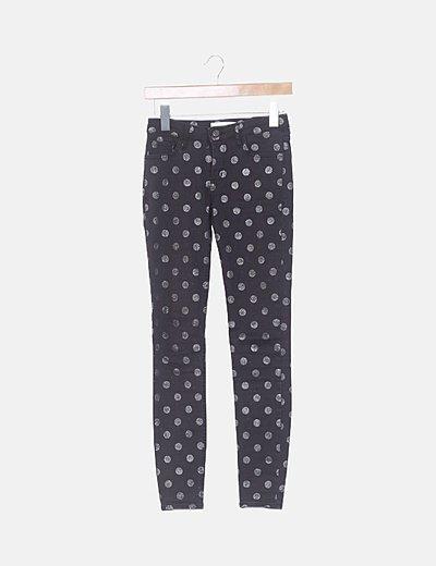 Jeans denim pitillo negro topos glitter
