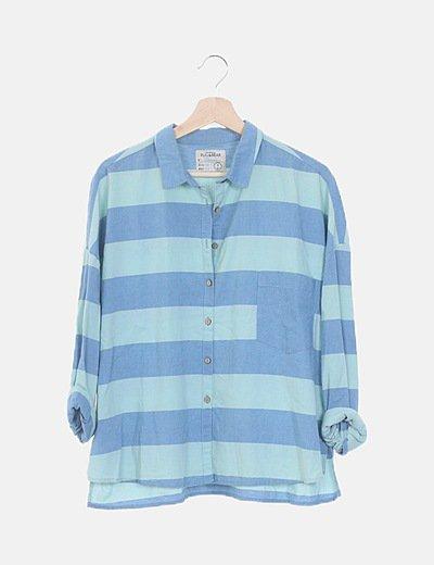 Camisa denim rayas turquesa