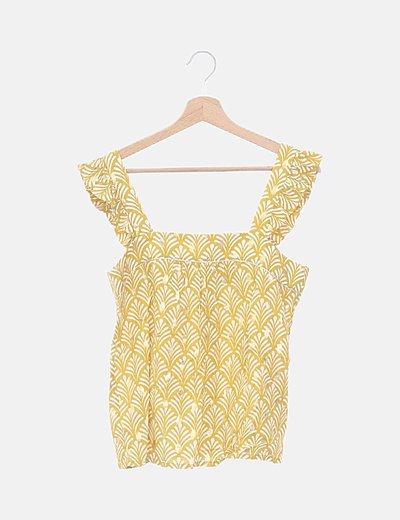 Blusa amarilla estampada detalles dorados