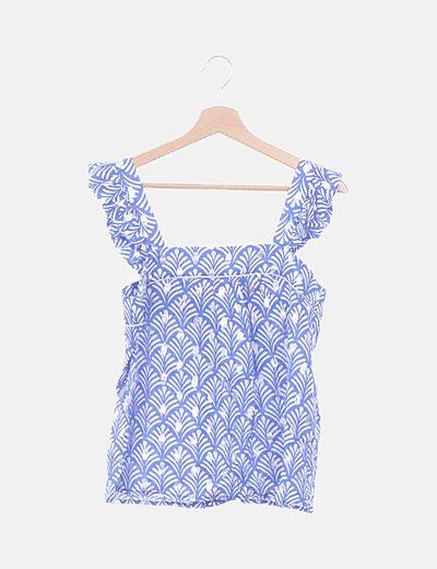 Top azul floral detalles plateados