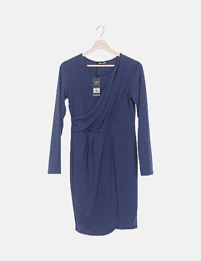 Vestido azul marino cruzado