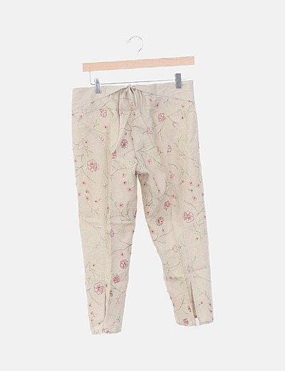 Pantalón pirata beige de pinza estampado floral