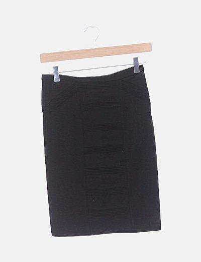 Falda de tubo negra texturizada