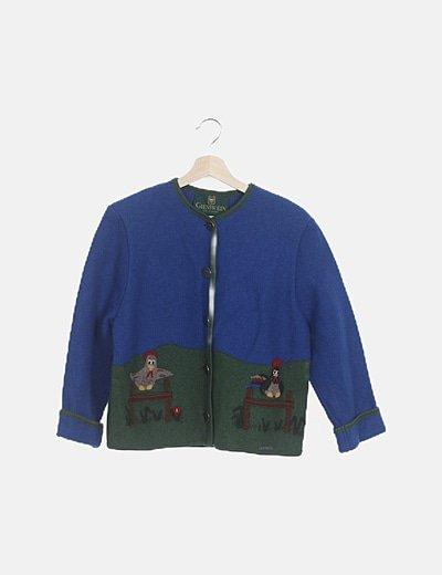 Chaqueta lana bordada fantasía