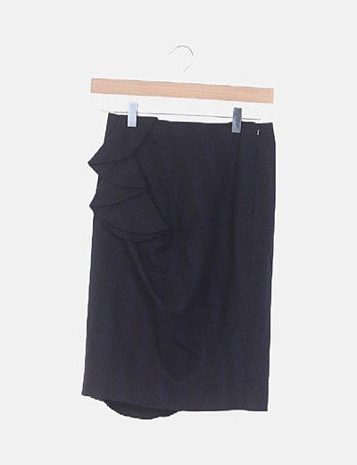 Falda midi negra de rayas