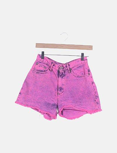 Short denim rosa flúor