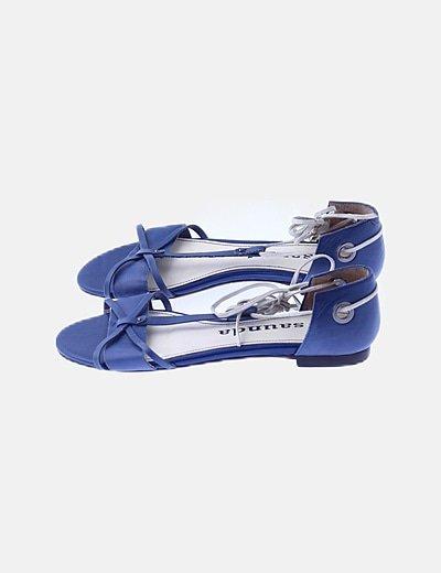 Sandalia piel azul lace up
