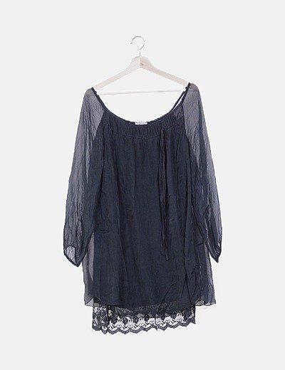 Vestido gasa combinado con encaje