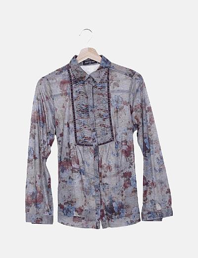 Camisa khaki estampado floral