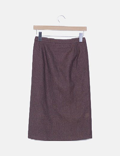 Falda tubo marrón paño