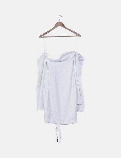 Vestido blanco detalle mangas