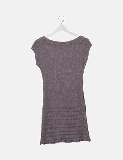 Vestido marrón lana detalle ochos