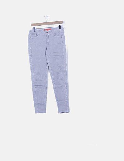 Pantalón denim rayas bicolor
