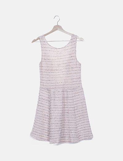 Vestido tweed combinado fluor