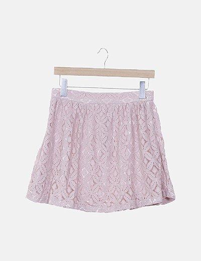 Mini falda rosa de encaje