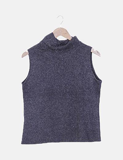 Camiseta tricot negra combinada pelo