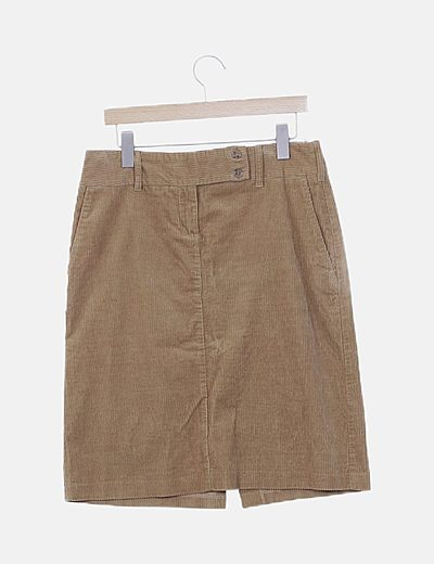 Falda midi pana marrón